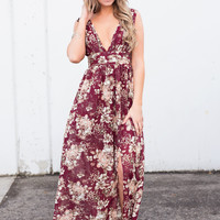 Sound Of Spring Plunging Neckline Maxi Dress (Wine)