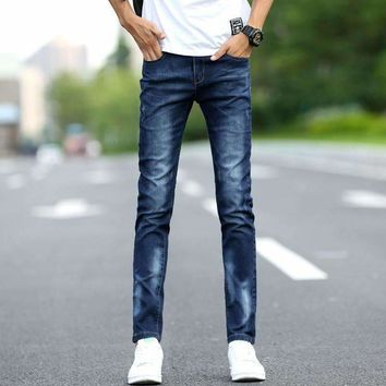 Pattern Men Jeans Solid Color Self Cultivation Bound Feet Pants Teenagers Tide Male Mid Low Waist Pants Full Length