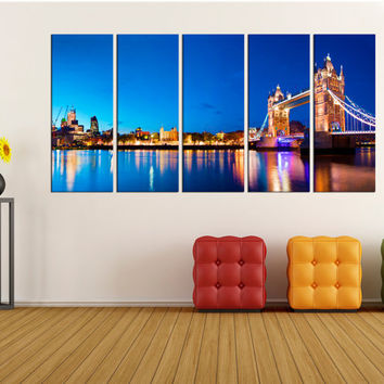 canvas London skyline wall art print, Tower bridge canvas print, Extra Large wll art Wall Art photo Print, city skyline wall art no:iki45