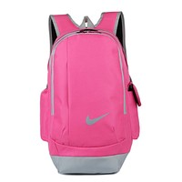 """Nike"" Casual Style Daypack Travel Bag Backpack Shoulder Bag School Backpack Pink grey"