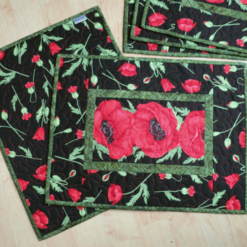 Quilted Placemats Red Poppy Flora 569