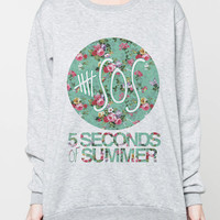 5SOS Five Seconds of Summer Logo Floral Sweater Pop Shirt Women Grey Sweatshirt T-Shirt Unisex Jumper Size S M L