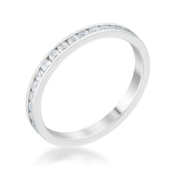 Teresa Clear Silver Eternity Stackable Ring | 1ct | Cubic Zirconia | Stainless Steel