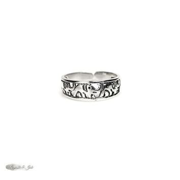 Sterling Silver Elephant Parade Toe Ring