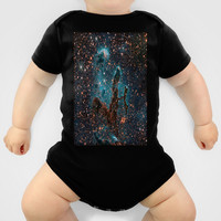Midnight Blue & Copper Stars Space Galaxy Print (Warm) Baby Clothes by 2sweet4words Designs