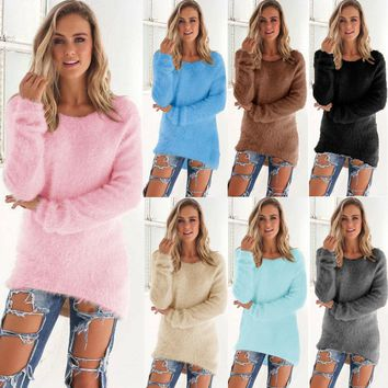 Fashion Women O-Neck Sweater Loose Pullover Casual Solid Sweaters
