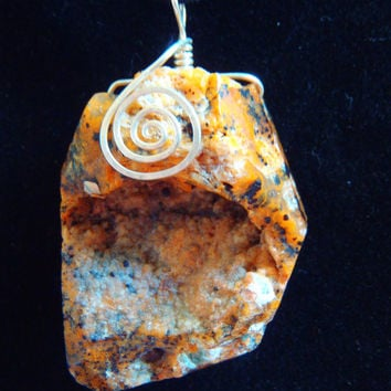 Natural Cheetah Agate Petrified Wood Opal Druzy Sterling Silver .925 Pendant Necklace Earth Tones Fall Autumn Fall Trends FREE SHIPPING