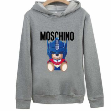 Moschino autumn and winter loose hooded couple wear bear print hooded sweater grey