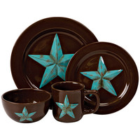 HiEnd Accents Chocolate and Turquoise Star 16 Piece Dinnerware