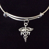 PT Physical Therapist Silver Charm Bracelet Expandable Adjustable Silver Wire Bangle