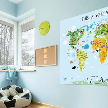 Children's World Map, Unique baby gifts, Nursery world map, Playroom Art. My First World Map Poster