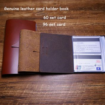 Handmade card holder case business genuine leather 96 card holder case free engrave name on leather package cried card case