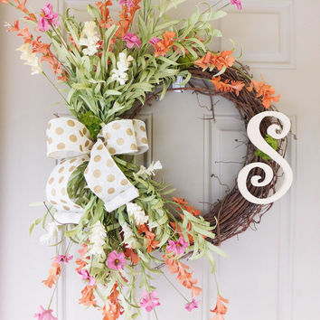 Wild Field Flower Grapevine Wreath with Burlap with Monogram. Year Round Wreath. Spring Wreath. Summer Wreath. Monogram Wreath. Door Wreath.