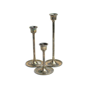 Rustic Leonard Silver Plated Brass Candlestick Trio (Set of 3) - Graduated Sizes, Instant Collection Candle Holders - Vintage Home Decor