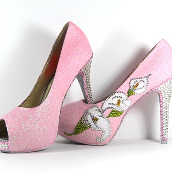 Crystal Cala Lilly & Pink Glitter Heels with Silver Soles