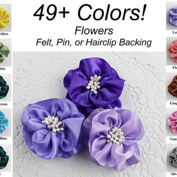 Handmade Ribbon Flower 49 Colors DIY Bouquet Ribbonwork Bridal Corsage Flowers Groom Boutonniere Brooch Wedding Favors