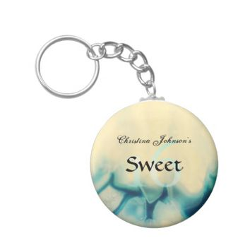Girly Aqua Blue Crystal Sweet 16 Party Favors Basic Round Button Keychain