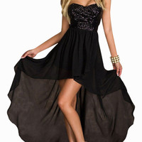 Black Glitter Strapless Long Back Dress