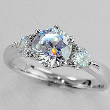 2 Carat Solid White Gold Three Stone Fashionable Lovely Diamond Women Wedding Ring Statement Weddging Fine Jewelry With Box