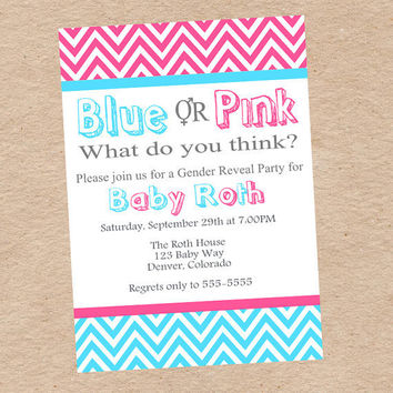 Gender Reveal Party Invitation and Decorations- Team Blue vs Team Pink