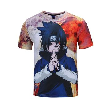 2016 New Men Women Summer Black NARUTO Cartoon Print O Neck Short Sleeve Boy mens Hip Hop 3D Anime T Shirts Harajuku Tee Shirt