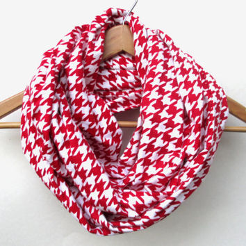 Red Houndstooth Flannel Infinity Scarf // Alabama Houndstooth // Houndstooth Scarf // Red and White Scarf // Red and White // Alabama Scarf
