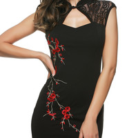 Cut Out Embroidered Cheongsam Dress