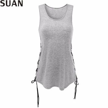 DCCKLW8 SUAN 2017 Fashion New Summer Women T-Shirts Tumblr Blusa Clothes O-Sleeveless Tops & Tees AAAAA Cotton Solid Stretchable Elastic