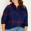 plus size button down plaid shirt with goldtone metallic shimmer