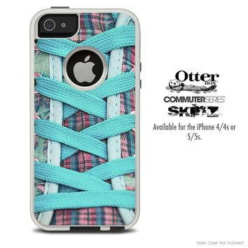 The Turquoise Laced Converse Skin For The iPhone 4-4s or 5-5s Otterbox Commuter Case