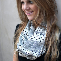 Polka Dot Infinity Scarf, Lace Eternity Scarf, Circle Scarf, Lace, Polka Dots, Black, Cream