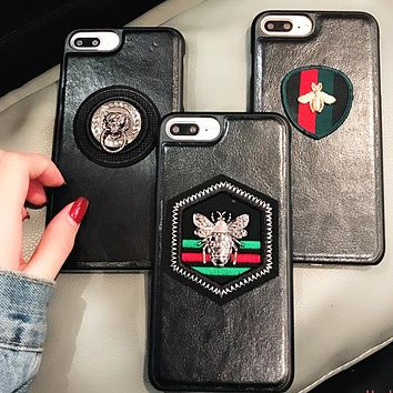 GUCCI Rhombus striped bees Popular logo striped bee iPhone7/8plus mobile phone case leather tiger iphone8 protection suite iX