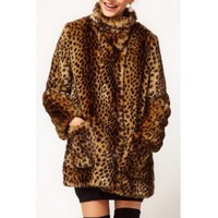 Fashion Long Sleeves Faux Fur Leopard Print Women's Coat