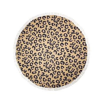 Leopard Round Towel with Fringed Ends
