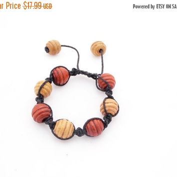 SALE Wooden bracelet wood beads necklace bracelet mom gift for her Shamballa bracelet Shamballa beads bracelet