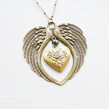 angel wing heart locket necklace,heart jewelry,wing necklace,guardian angel,gothic,large pendant,statement necklace,costume,whimsical gift