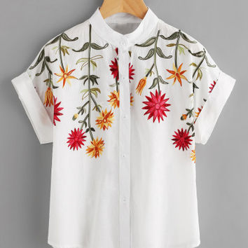 Floral Embroidered Roll-up Cuff Blouse