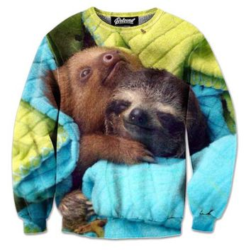 Adorable Cuddling Sloths Graphic Print Unisex Pullover Sweatshirt Sweater | Gifts for Animal Lovers