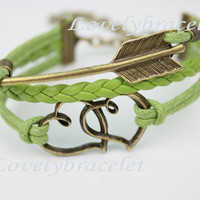 Bronze double heart, arrow bracelet, braided leather, love the same, never a change of heart, give her (him) the best gift