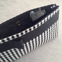 Fabric Clutch Purse - Black and White Houndstooth - Black Grosgrain Bow - Gold Magnetic Clasp - fully lined