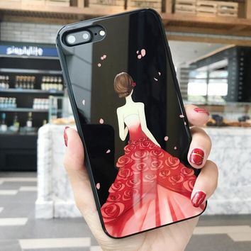 Beautiful Girl Pattern Case for iPhone X 8 7 6S Plus &Gift Box