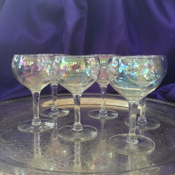 Iridescent Liqueur Glasses, Hand Blown Bubble Glasses, MCM Barware, Set of Six Petite Stemmed Glasses, Sherry, Cordial Wine, Cognac