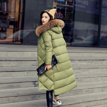 Quintina 2016 New Fashion Women Down Coat Slim Winter Coat Women's Long Coat Womens Down Jackets Parka