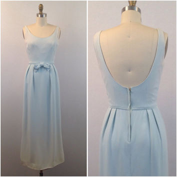 1960's Baby blue evening gown- Blue vintage dress- Vintage Gown- Blue dress with bow- Evening gown- Preppy formal dress