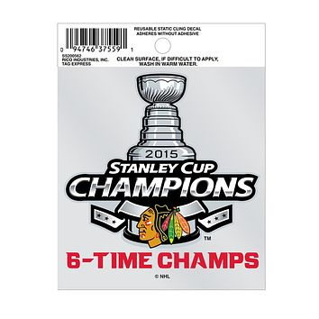 Chicago Blackhawks - 6 Time Stanley Cup Champs Small Static Cling Sticker