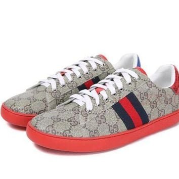 Gucci Fashion Women Blue Red Stripe Old Skool Sneakers Sport Shoes I12271-1