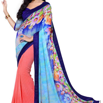 Charming Designer Floral Print Blue and Coral Chiffon Saree D-206