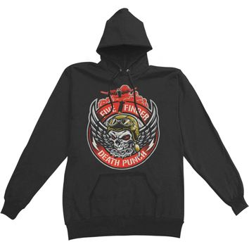 Five Finger Death Punch Men's  Bomber Patch Pullover Hoodie Hooded Sweatshirt Black