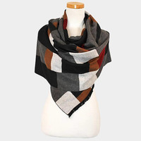 Women's Black Multi-Color Plaid Check Pattern Fringe Scarf