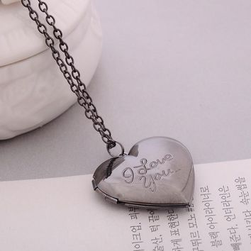 I love you Carved 6 Colors DIY Love Heart Secret Message Locket Necklace